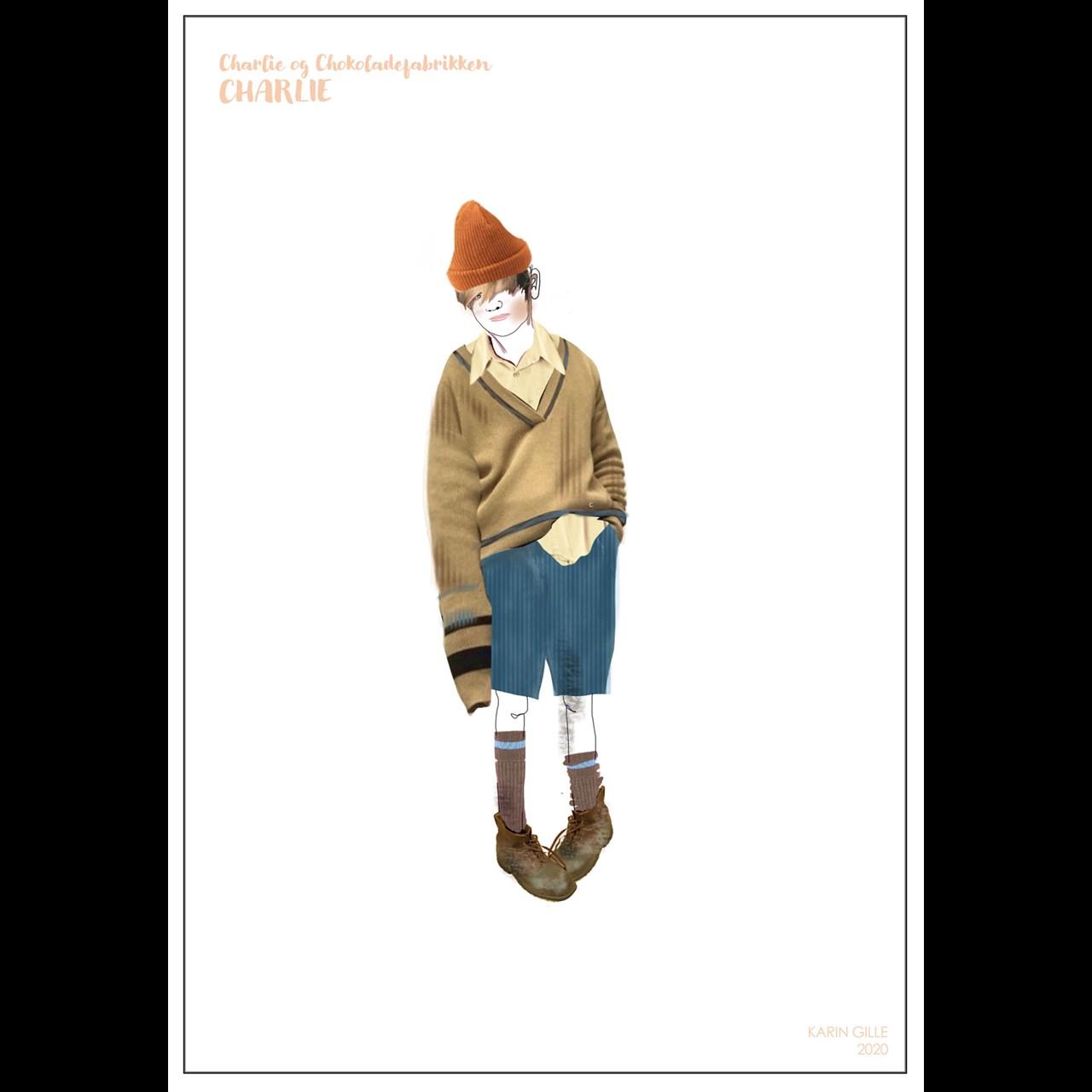 Kostumetegning til Charlie & Chokoladefabrikken af Karin Gille